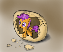 Hatching Scoots by manfartwish
