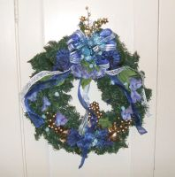 Wreath with blue flowers by Vivienne-Mercier