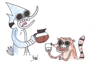 Mordecai and Rigby COFFEEEEEEEEEEEEEEEEE by karlix-the-wiz