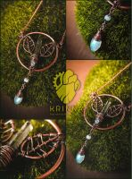 Wire wrap Elven forest necklace by Krinna