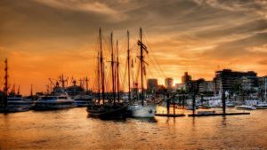 Sunset in the Port of Hamburg by pingallery