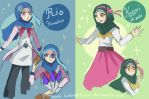 Kotori and Rio with hijab by UmbralHorror