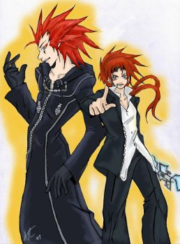 axel and reno COLORED by Foxysuji