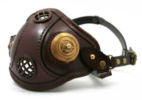 Steampunk mask brown with brass smoking vent 1 by AmbassadorMann
