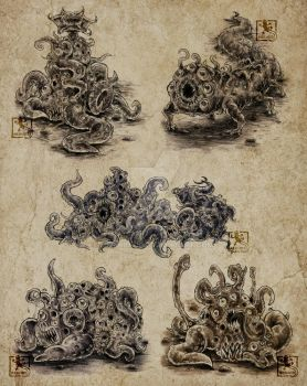 Tentacle-Eye-Monsters by Merinid-DE