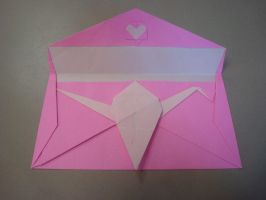 Crane in love envelope by MasonAndAGhast