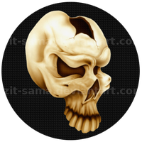 Skull on Carbon Fiber Button by Izit-Sama