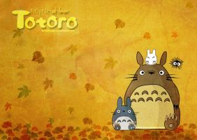 My Neighbor Totoro in Autumm by helixaspersa