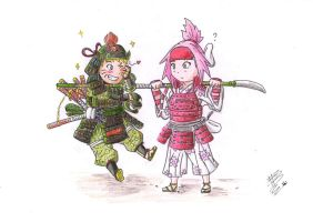 Samurai Flirt! -Whirling and Enduring, Chibi!!- by Bollybauf-chan