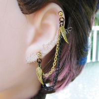 Gold and Black Wing Cartilage Chain Earring by merigreenleaf