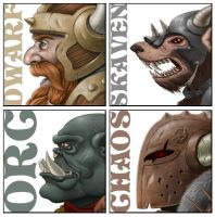 Commission: Warhammer Icons by joyceline-art