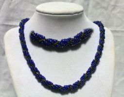 Blue n' Pewter Twisted Necklace - FOR SALE by Thy-Darkest-Hour
