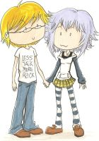 Chibi me and Mizore by Captainface