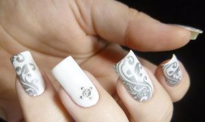 Easy White and Grey Stamped Nail Art by TenLittleCanvases