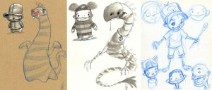 Kiddie and Dragon sketches by Axel13-Gallery