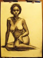 Charcoal Drawing of a Nude Lady by evilcomenotnear