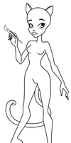 Caterine De Mew linework paint-friendly base by ThestralWizard