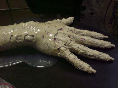 prosthetic zombie hand sculpt by barbelith2000ad