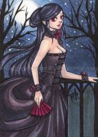 aceo - moonlit walk by demon-rae