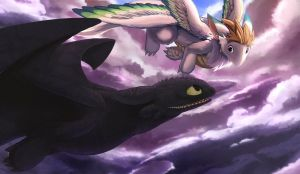 HTTYD - Toothless and Flammie by Duiker