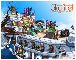 Skyfire Deck Party - Warcraft Fanart by wowhappyfish