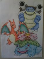 Pokemon- Venusaur, Charizard and Blastoise by sazmullium