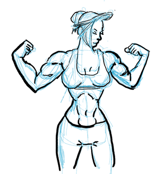 Muscle Girl Ink1 by AVasquezArt