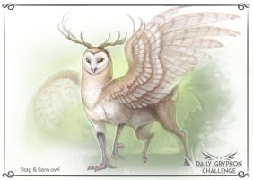 Gryphon Challenge 15 : Stag and Barn Owl by GaiasAngel