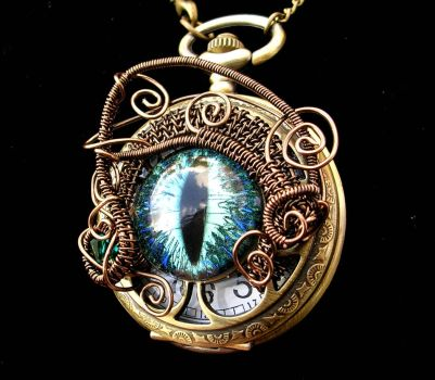 Wire Wrap Super Shift Time Piece Pocket Watch 2 by LadyPirotessa