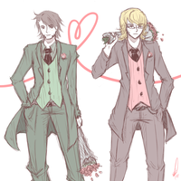 TIGER AND BUNNY suits + roses by sachixakechi