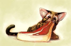 A baby ocelot eating a steak. by sketchinthoughts