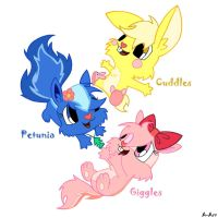 cuddles,petunia and giggles by ariana-art