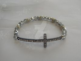 Silver and black diamante stretch bracelet 299b by Quested-Creations