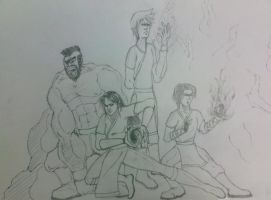 Water,Earth,Fire,Air Benders by KinKiat