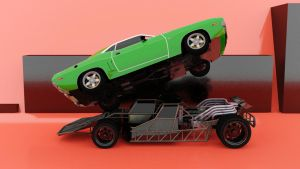 Fast and Furious Flipcar and Flying Dodge by Binary-Map