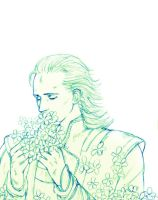 Loki and flower by setsuna1111
