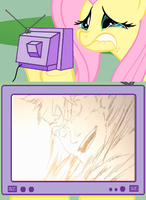 Fluttershy crying over Kittan by h2otothe650