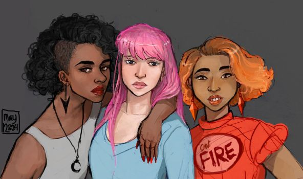 Human Marceline, Bonnibel, and Flame Princess by may12324