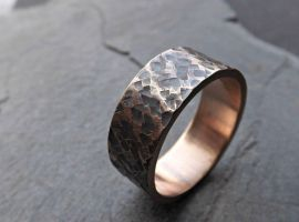 Square Hammered Bronze Ring by Siihraya