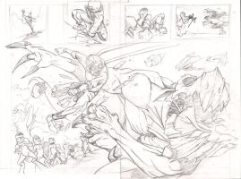Isaac Vs. The Minions Double Page Spread Pencils by justinprokowich