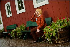 SnK: School Boy Armin Waiting by CosplayerWithCamera