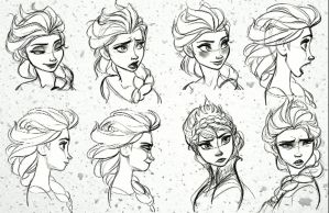 Elsa sketches and Snow gif by Angelartist10