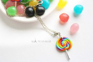Adjustable Rainbow Necklace Handmade Jewelry by LaNostalgie05
