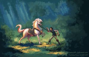 Tangled - Flynn Rider and Maximus by lostie815