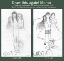 Before and after meme: Coraline by Saanalle