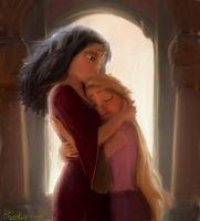 Mother Gothel and Rapunzel by bhaskar655