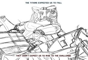 Picture a Day 236: Jaeger Gypsy Danger vs. Titan by ConstantM0tion