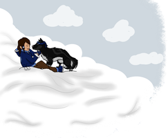 K+K playing in the snow by Jessica3green