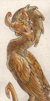 Gold-faced Dragon bookmark by teriathanin