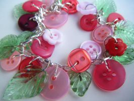 Red Button Vine Bracelet by Cinnamonster
